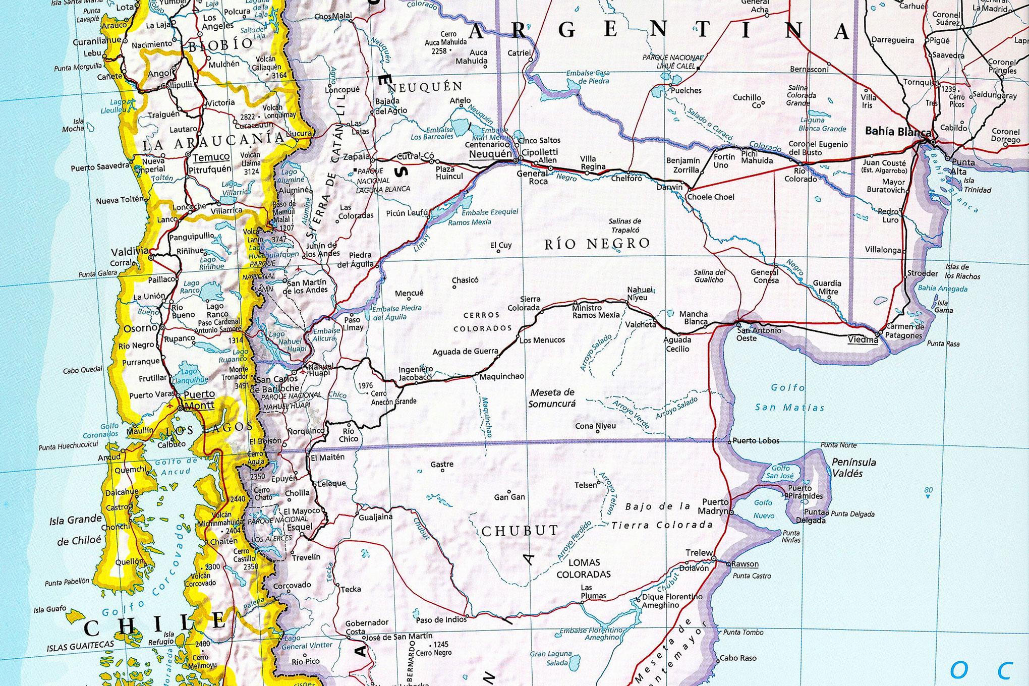 Mapa sur de Chile
